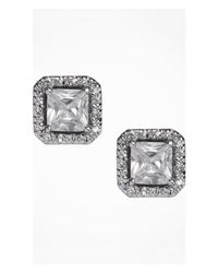 Express | Metallic Cubic Zirconia Square Stud Earrings | Lyst