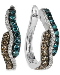 Le Vian - Blue Diamond Wavy Hoop Earrings In 14k White Gold (9/10 Ct. T.w.) - Lyst