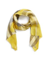 Burberry | Yellow 'giant Exploded Check' Linen Scarf | Lyst