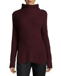 Vince - Purple Directional-rib Turtleneck Sweater - Lyst