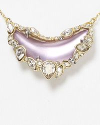 Alexis Bittar Metallic Lucite Jagged Crystal Framed Crescent Pendant Necklace 16