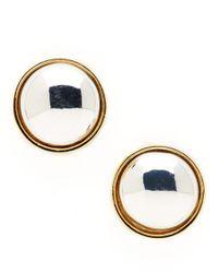 Lauren by Ralph Lauren | Metallic Two-tone Button Stud Earrings | Lyst