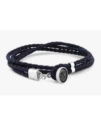 Tateossian - Diamond Dust Bracelet With Black Diamonds In Silver And Brown & Black Leather for Men - Lyst