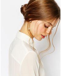 Coast - Metallic Droplet Faux Pearl Earrings - Lyst