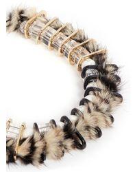 Venna - Multicolor Faux Fur Chain Link Choker Necklace - Lyst