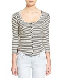 Lush | Black Stripe Scoop Neck Top | Lyst