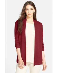 Eileen Fisher | Red Merino Rib Knit Open Cardigan | Lyst