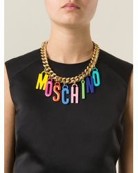 Moschino Metallic Logo Charm Necklace
