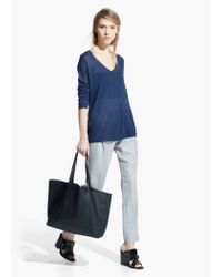 Mango Blue Fine-Knit Silk-Blend Sweater