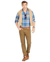 Polo Ralph Lauren Blue Plaid Linen Estate Sportshirt for men