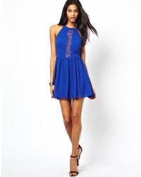 ASOS | Yellow Lace Insert Halter Skater Dress | Lyst