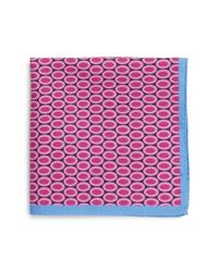 Ted Baker | Pink 'oval Medallion' Silk Pocket Square for Men | Lyst