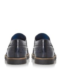 Dune - Blue Blackout Wedge Sole Longwing Brogue Shoes for Men - Lyst