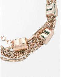 Oasis | Metallic Heart Mixed Chain Bracelet | Lyst