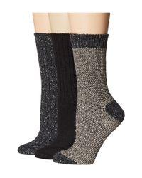 Hue | Black Twisted Tweed/rib/tweed 3-pack Boot Sock | Lyst