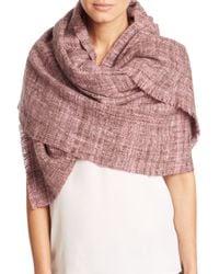 Bajra | Pink Handspun Herringbone Merino Wool Shawl | Lyst