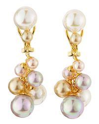 Majorica | White Clustered Faux-pearl Drop Earrings | Lyst