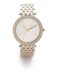 Michael Kors | Metallic Darci Pave Two Tone Watch | Lyst