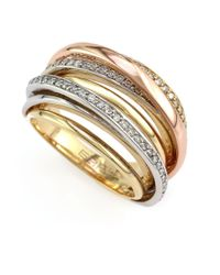 Effy | Diamond 14k Yellow White And Rose Gold Ring 0.51 Tcw | Lyst