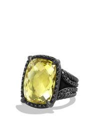 David Yurman - Yellow Châtelaine Ring With Lemon Citrine And Black Diamonds - Lyst