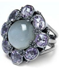 Stephen Dweck Gray Grey Moonstone And Amethyst Flower Ring