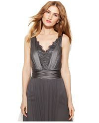 Vera Wang | Gray Lace Chiffon High-Low Gown | Lyst