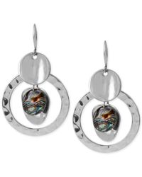 Robert Lee Morris | Metallic Silver-tone Hammered Disc And Abalone Bead Drop Earrings | Lyst
