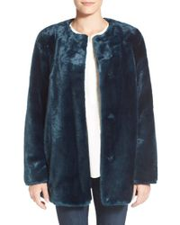 Vince Camuto Blue Faux Fur Jacket