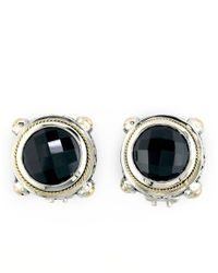 Effy | Metallic Balissima Onyx, Sterling Silver And 18k Yellow Gold Stud Earrings | Lyst