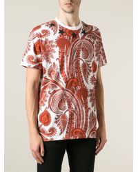 Givenchy Orange Paisley-Print Cotton T-Shirt for men