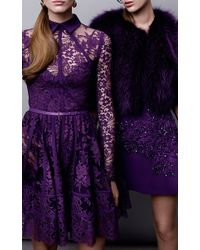 Elie Saab Purple Crepe Cady And Embroidered Motif Short Dress