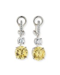 Fantasia by Deserio White Canary/clear Cubic Zirconia Drop Earrings