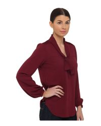 Armani Jeans - Purple Silk Blend Blouse with Bow Detail - Lyst