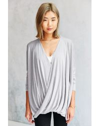 Silence + Noise Gray Olivia Surplice Top