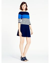 kate spade new york | Blue Striped Scuba Dress | Lyst