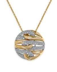 Effy | Metallic Duo Diamond, 14k White And Yellow Gold Pendant Necklace | Lyst
