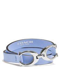 COACH - Blue Twin Signature C Double Wrap Leather Bracelet - Lyst