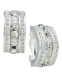 Carolee | Metallic Crystal Demi-hoop Clip-on Earrings | Lyst