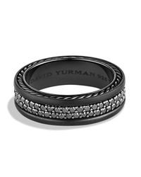 David Yurman | Streamline Two-Row Black Diamond Band Ring for Men | Lyst