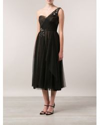 Notte by Marchesa Black Embroidered Tea Length Dress