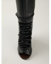 Givenchy Black Lace-Up Thigh High Boots