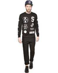 Stussy Black Logo Collage Cotton T-Shirt for men