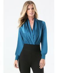 Bebe - Blue Silk Wrap Bodysuit - Lyst