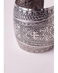 Missguided - Metallic Antique Silver Cuff - Lyst