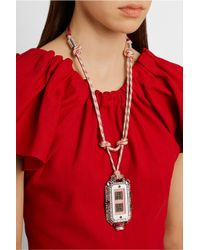 Lanvin - Pink Grosgrain And Crystal Necklace - Lyst