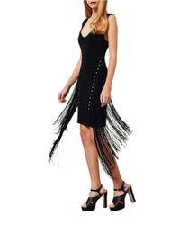 Miss Selfridge Black Fringed Eyelet Bodycon V-back Dress