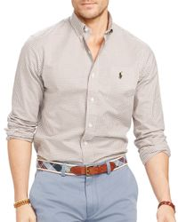 Ralph Lauren | Brown Polo Slim-fit Checked Stretch-oxford Shirt for Men | Lyst