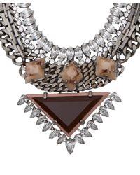 DANNIJO Metallic Silver Crystal Joss Necklace