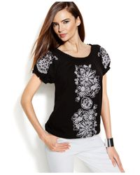 INC International Concepts | Black Smocked Embroidered Peasant Top | Lyst