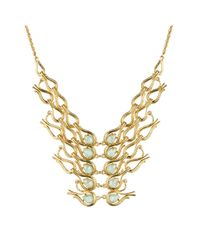 Alexis Bittar Metallic Maldivian Scalloped Aigrette Bib Necklace With Amazonite Doublet